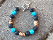 Armkette Armband für Junge mit Kokosrondellen, Lavasteinen und Howlith Steinperlen