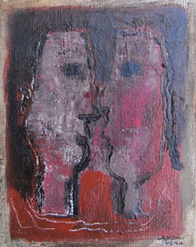 Two person's story 18×14cm Oil on canvas 2018
