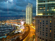 Ausblick vom obersten Stock des Hotels Phoenicia in Beirut.