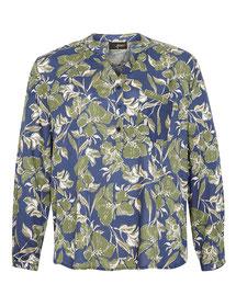 Bluse mit Blumendruck blau-grün für dicke Frauen