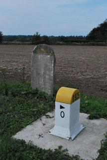 Borne frontière entre la Somme et la Seine-Maritime