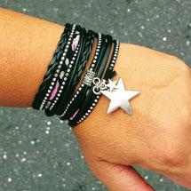 Bracelet étoile ORION noir porté