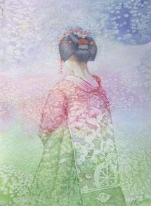 和風イラスト「花の色」舞妓、水彩画・福井良佑