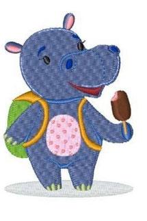 Zootiere: Hippo mit Eis