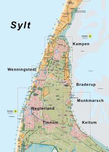 Detaillierte Inselkarte SYLT