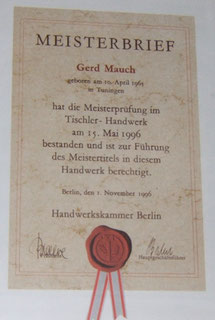 Meisterbrief Schreiner von Gerd Mauch
