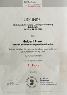 Franz Haberl, 1.Platz beim praktischen Ausbildungskurs 2014 des BWZ OÖ, seit 2014 im Betrieb tätig