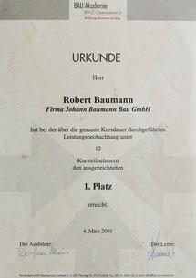 Robert Baumann, 1.Platz beim praktischen Ausbildungskurs 2005 des BWZ OÖ, seit 2002 im elterlichen Betrieb tätig