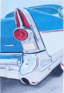 Dessin crayons de couleur gros plan feu arrière voiture ancienne.