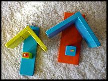 Pindakaas pot houders, duo in blauw, oranje, geel, blauw