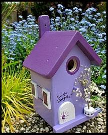 Vogelhuisje, nestkastje hout_Lavendel tinten 10_licht paars_dak lavendel donker