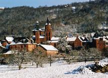 la neige est rare à Collonges-la-Rouge, en Vallée de la Dordogne