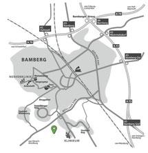 Anfahrt zur Fuchsenwiese, Waizendorfer Straße 17 in Bamberg von der Autobahn