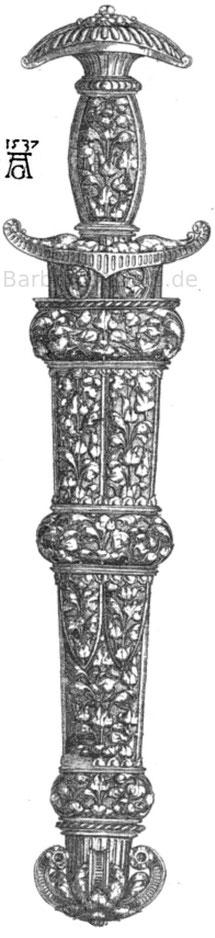 Dolch nach einem Stich von Heinrich Adelsgrever 1537.