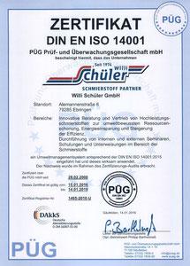 erstmalige Zertifizierung nach DIN EN ISO 14001 2008