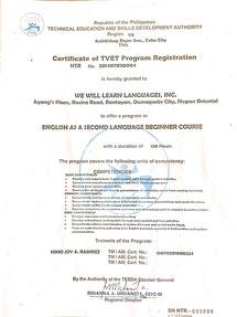 TESDA(フィリピン教育庁)認定校; NTR No. 201407030004-6。SSP認定校; No. RBR-00-57。