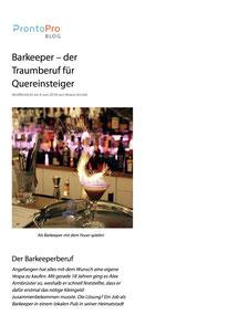 Barkeeper – der Traumberuf für Quereinsteiger - ProntoPro (6. Juni 2018)