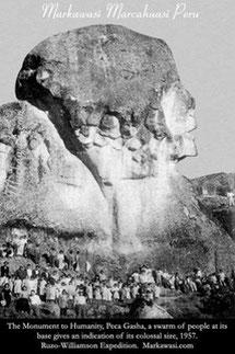 Il monumento dell'umanità, foto della spezione in Perù  del 1957 da cui prende spunto per la copertina del libro.