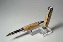 Füller aus Holz / Füllfeder aus Holz / Füller aus finnischer Birke Maser, Majestic Junior