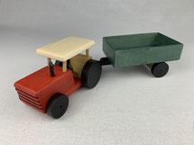 """Holz-Traktor """"rot"""" mit Anhänger"""