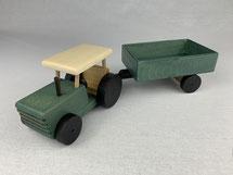 """Holz-Traktor """"grün"""" mit Anhänger"""