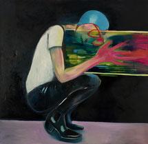JuliaSchmalzl: ohne Titel, 2017, Öl und Lack auf Leinwand, 150 x 150 cm