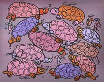 """Schildkröten gestapelt"",  Acryl auf Leinwand, 30/24 cm, September 2009"