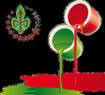 botes de pintura rojo y verde