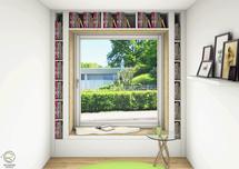 3D Planung Nischenfenster mit Sitzgelegenheit Modernes Holzhaus mit Sitzfenster Schreinerei Holzdesign Ralf Rapp mit Bücherregal  von Schreinerei Holzdesign Ralf Rapp in Geisingen, CAD-Planung Sitzfenster mit Bücherregal u. Stauraum unter der Sitzbank,