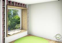 fotorealistische Planung eines Sitzfensters von Schreinerei Holzdesign Ralf Rapp in Geisingen mit Sitzgelegenheit, Bücherregal u. Schubladen unter der Sitzbank, 3D CAD Planung Sitzfenster mit Überstand von Schreinerei Holzdesign Ralf Rapp in Geisingen