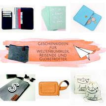 Geschenkideen wie Portemonnaie, Kofferanhänger, Pass-Organizer für Weltenbummler, Reisende und Globetrotter