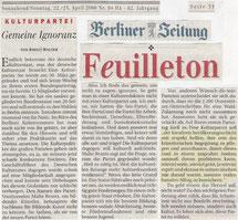 Birgit Walter @ Berliner Zeitung, 22./23.4.2006