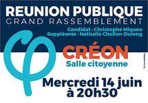 Affiche Réunion publique la France Insoumise, Créon, 14 juin 2017