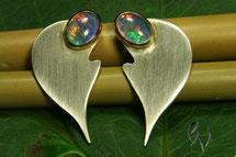 Ohrstecker Silber mit Opal-Tripletten, Handarbeit