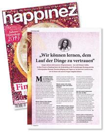 """Interview mit Melanie Lüdtke im Thema """"Sorgen loslassen"""" in der Zeitschrift happinez, Nr. 1/2019"""