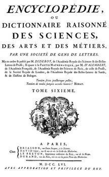 Couverture du tome 6 de l'encyclopédie de Diderot