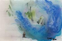 一昔前、5センチほどのガラスに落描きしてみた水彩です。