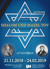 Das Plakat zur Ausstellung Shalom und Mazel Tov