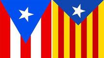 Bandera de Puerto Rico (izda.) y la estelada (dcha.).