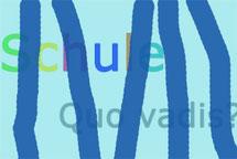 Schule, türkis mit blauen Streifen. Quo vadis?  Grafik:spargra