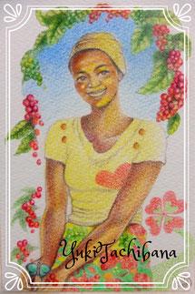 タンザニアコーヒー農園での女性 立花雪