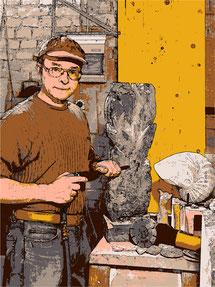 Künstler bei der Arbeit. Steinbildhauer bei der Arbeit. Arbeiten mit dem Presslufthammer. Marmorstein und Eisen bricht... Eine Skulptur entsteht. Skulptur aus Stein. Arbeitsprozess . Steinbearbeitung küstlerisch.