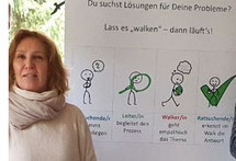 Michaela Groer vor einem Plakat mit Erklärung der Methode Walking-in-your-shoes
