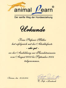 animal learn: Urkunde Ausbildung Hundetrainerin Stefanie Graf (geb. Müller)