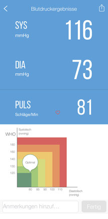 Einzelansicht Blutdruckwert