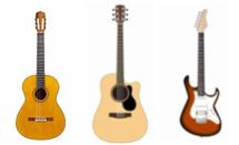 左からクラシックギター、フォークギター、エレキギター