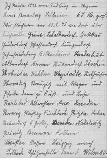 Handschriftliche Aufzeichnungen der Flucht und Vertreibung von Emil Beule (1945)