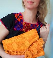 Mexikanische Taschen, Clutch Damentasche aus Mexiko, Ledertasche, Hippie Tasche, Boho Tasche, Handtasche, Schultertasche, Ethnotasche, Folklortasche, Blumentasche, Tasche mit Stickerei, Frida Stil
