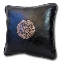 Mina Design Lederkissen Leder Kissen blau Sitzkissen Zierkissen Sofakissen leather cussion pillow coussin en cuir