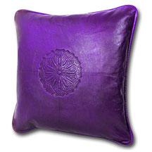 Mina Design Lederkissen Leder Kissen violett Sitzkissen Zierkissen Sofakissen leather cussion pillow coussin en cuir